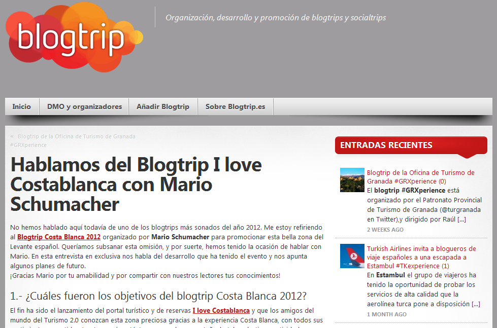 Entrevista con blogtrip.es del Blobtrip Costa Blanca 2012