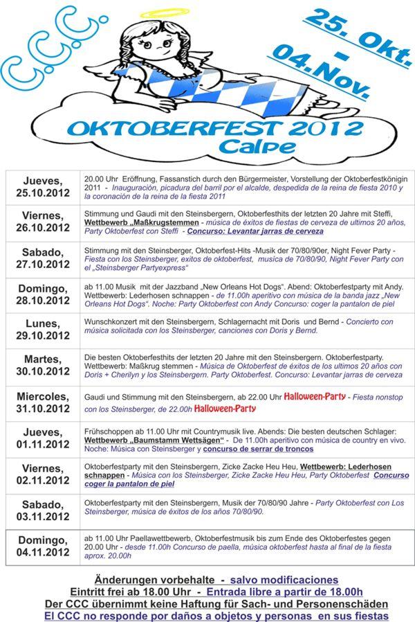 Calper Oktoberfest vom 25.Oktober – 04.November 2012Berr-Festival Calpe 25.October – 04.November 2012Fiesta de la Cerveza del 25.Octubre – 04.Noviembre 2012, Mario Schumacher Blog
