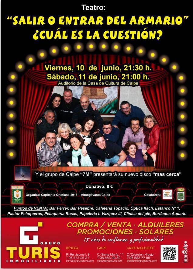 Teatro en Calpe: 10 y 11 de Junio 2016, organizado por la Filá Almogávares, Mario Schumacher Blog
