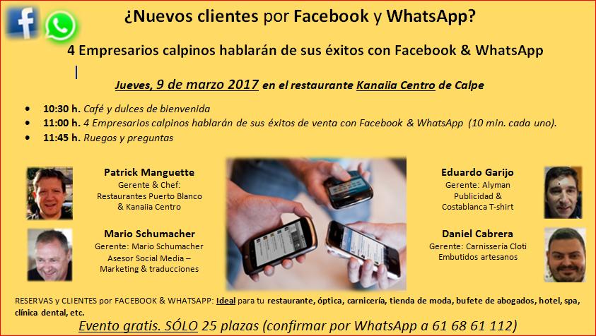 Charla:  09 de Marzo en Calpe ¡Ventas por Facebook y Whats App!, Mario Schumacher Blog